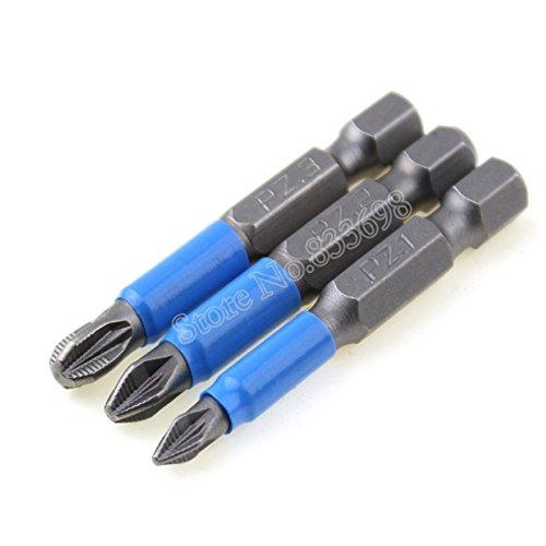 Lot de 3 embouts de tournevis Pozi PZ1 PZ2 PZ3 - Antidérapants - Tige hexagonale de 50 mm de long
