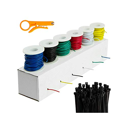 Houseables Electrical Wire Kit, Solid Hook Up Electric Wiring, 6 x 22 Gauge Spools (25 Feet Each), Red, Black, Green, Yellow, White & Blue AWG Assortment, Electronic Hookup Core Wires, Thin Coated