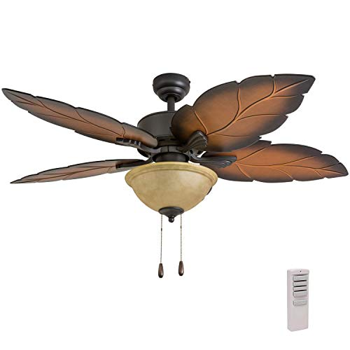 "Prominence Home 50689-01 Pacific Sail Tropical Ceiling Fan (3 Speed Remote), 52"", Mocha, Bronze"