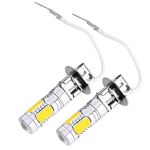 EBTOOLS Bombillas de conducción de niebla de 5-SMD de 12V, 2PCS Bombilla de conducción de niebla de LED de coche H3 7.5W 5730 Lámparas amarillas