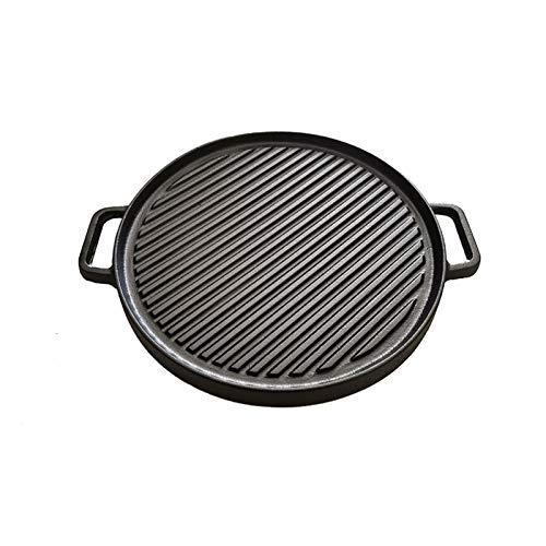 Xiniufsd Sartén 30 cm Parrilla de Hierro Fundido Redondo de Doble Cara Pan Multifuncional sin Recubrimiento Teppanyaki Filete de sartén (Color : Black)