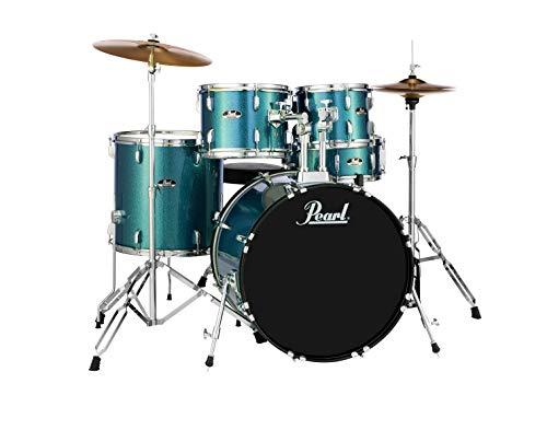 Pearl Roadshow 5-piece Complete Drum Set with Cymbals - 22' Kick - Aqua Blue Glitter