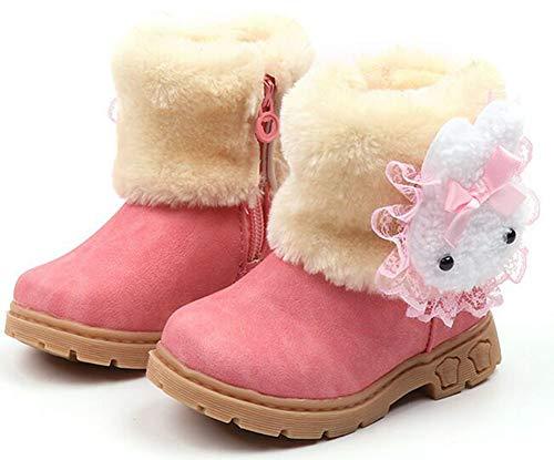 botas de nieve para niños niñas zapatos invierno Botines Cómodos Calzado Piel Forradas Calientes Planas Casual Boots Antideslizante para Bebe niña Niño,Rosa a,27 EU=fabricante 28