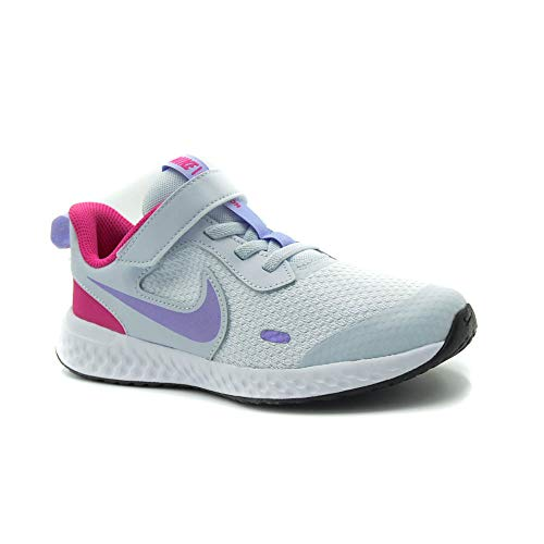 Nike Revolution 5, Zapatillas Unisex niños, Football Grey Purple Pulse Fir, 19.5 EU