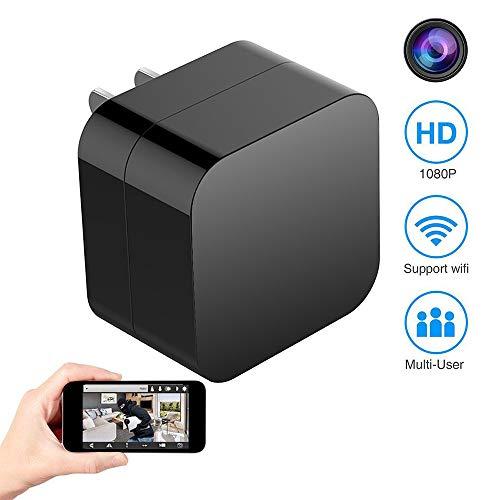 JHWX Caricatore da Muro USB Telecamera 1080P WiFi Caricatore da Videocamera Nascosto Mini Telecamera Spia, Caricatore da Videocamera Nascosto WiFi Telecamera Wireless Caricatore da Muro USB 1080P