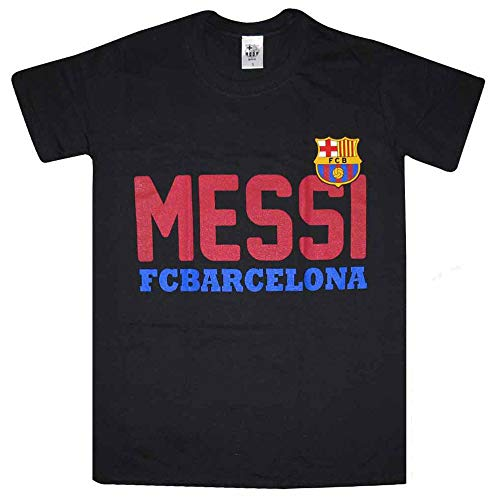 FCB Offizielles FC Barcelona Wappen & Lionel Messi T-Shirt (100% Baumwolle) XL mehrfarbig