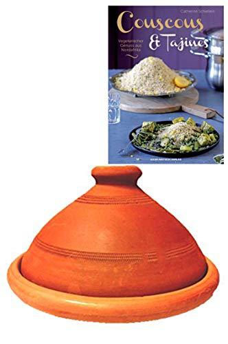 Tajine original aus Marokko, inklusive Kochbuch Vegetarischer Genuss aus Nordafrika, Tontopf zum Kochen, Tuareg Ø 26cm, für 1-3 Personen, handgetöpfert aus Marrakesch, unglasiert, frei von Schadstoffe