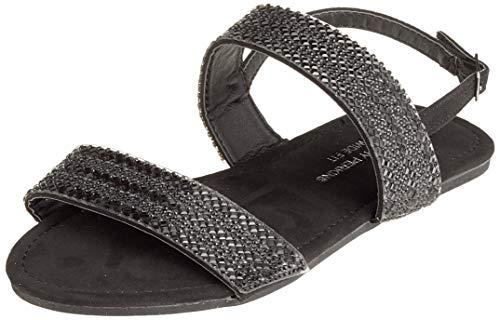 Dorothy Perkins W: Funk Double Strap Embellished Sandal, Bride Cheville Femme, Noir (Black 010), 35 EU