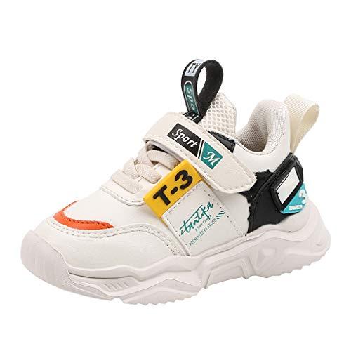 Dorical Laufschuhe Turnschuhe Mädchen Jungen Sportschuhe Kinderschuhe Outdoor Fitnessschuhe Sneakers Klettverschluss Atmungsaktiv Fashion Leicht Turnschuhe für Gym Indoor Unisex-Kinder(Z-Weiß,28 EU)