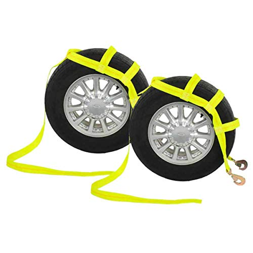 US Cargo Control Tow Dolly Basket Strap - Car Dolly Strap with Twisted Snap Hook End Fittings - Great for Tow Dolly Car Hauling - Fits Most 14-17 Inch Wheels - 3,333 Pound Working Load Limit - 2 Pack