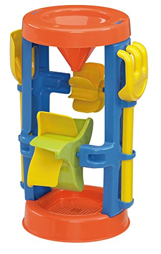 American Plastic Toys Kids' Sand and Water Wheel Tower, Flowing Sand and Water, Built-in Top Funnel, Sieve, and Wheels, Shovel and Rake Included, Learn About Solids, Liquids, Combination, for Ages 3+ (02460)