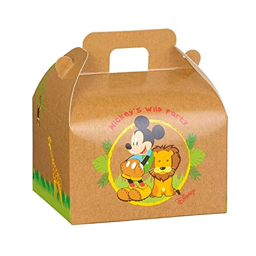 Ingrosso e Risparmio 10 cajas de cartón con forma de maletín con Mickey Mouse y León en la Savana, firmadas por Disney, ideales para fiestas de cumpleaños infantiles (grande – con peladillas blancas)