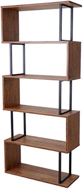 Mendler Bücherregal HWC-A27, Standregal Wohnregal, 183x80cm 3D-Struktur 5 Ebenen  Wildeiche