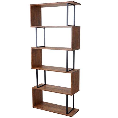 Bücherregal HWC-A27, Standregal Wohnregal, 183x80cm 3D-Struktur 5 Ebenen - Wildeiche-Optik, Metall schwarz