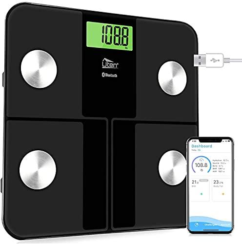 Uten - Bilancia da bagno digitale Bluetooth, con analizzatore di composizione corporea, app intelligente per peso corporeo, grasso corporeo, BMI, ecc, 28 °/180 kg (grigio-nero)