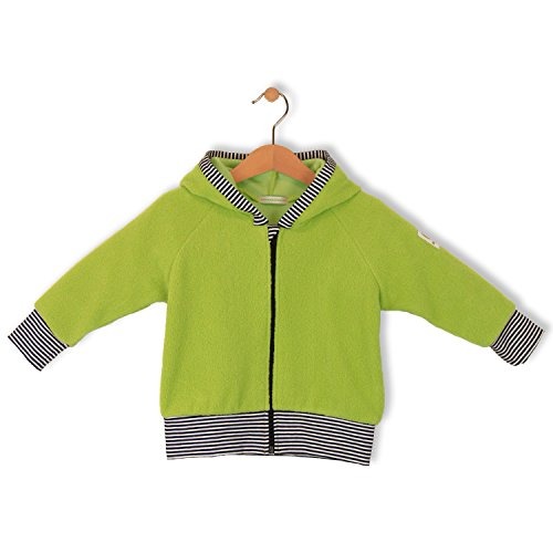 bubble.kid berlin - Unisex Baby Kapuzen Jacke, Hoodie Bardo - Baumwollfleece 74-80 (6-12 Monate), Farbe: Gras