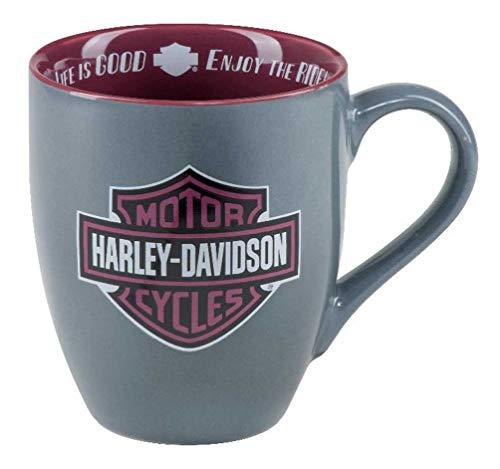 """Harley-Davidson Keramik-Kaffeetasse """"Enjoy The Ride B&S"""" – Grau – 425 ml HDX-98628"""