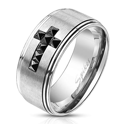 Bungsa 67 (21.3) Ring Blaues Kreuz auf silbernem Ring für Herren Edelstahl (Männer Fingerring Herrenring Edelstahlring Chirurgenstahl Blau Silber)