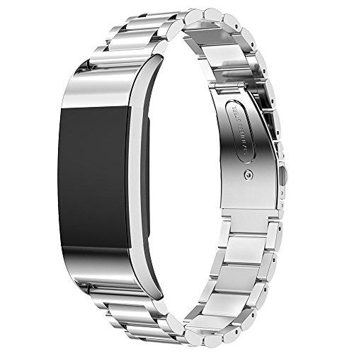 Myada per Cinturino Fitbit Charge 2 in Acciaio Inossidabile Regolabile Smart Watch Cinturino di Ricambio in Metallo Classic Braccialetto per Fitbit Charge 2 Orologio Fitness Tracker - Argento