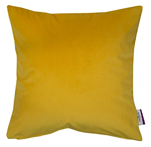 TOM TAILOR T-French Velvet Kissenhülle, Polyester, Gelb, 40 x 40 x 0.05 cm
