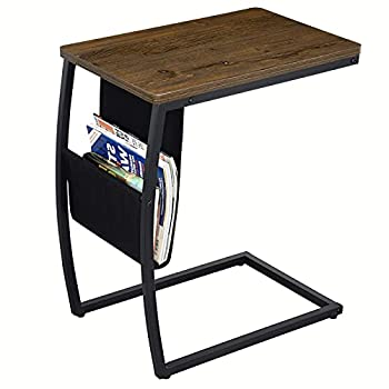 SRIWATANA End Tables Living Room Vintage Sofa Side Couch Table with Side Pocket C Shaped Table for Coffee Snack Laptop Dark Walnut