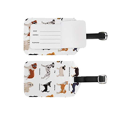 Luggage Tags Address Name Holder,2Pcs Portable Identifier Label Set Checked Card Bag Decoration Travel Gear Gifts,Colored Dogs Set for Suitcases Bags