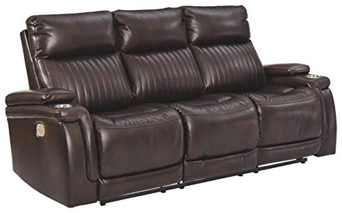 Signature Design by Ashley - Team Time Casual Faux Leather Power Reclining Sofa - Adjustable Headrest - Dark Brown