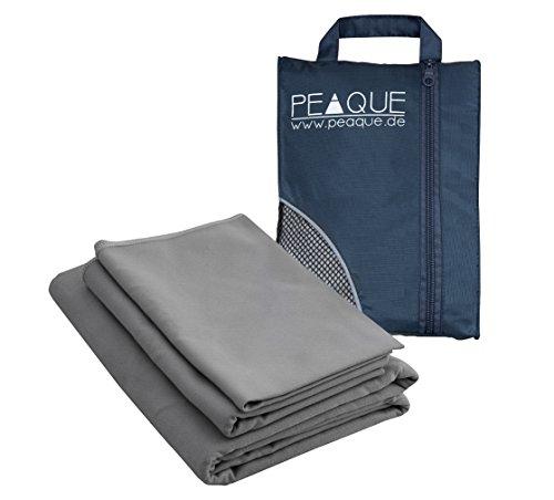 3er Set Mikrofaser Handtücher mit Tasche von PEAQUE - 160x80 cm +...