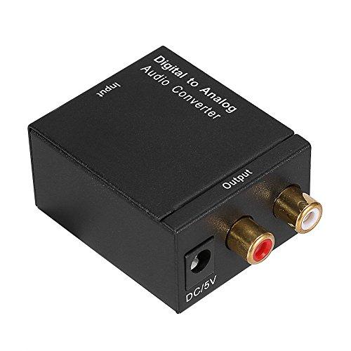 Socobeta Convertidor de Audio Digital a analógico R/L RCA Adaptador de Audio AUX Toslink de 3,5 mm con Cable coaxial óptico Cable USB para HDTV Reproductor de BLU-Ray HD DVD