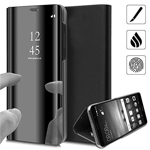 ANWEN Huawei P40 Lite Hülle, Plating Spiegel Tasche Cover Smart Handyhülle Schutzhülle Flip Lederhülle Etui [Clear View] [Anti-Scratch] Hülle Hülle für Huawei P40 Lite, Schwarz