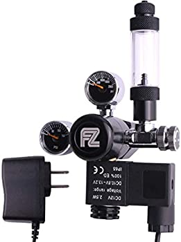 FZONE Aquarium CO2 Regulator Mini Dual Gauge Display DC Solenoid with Bubble Counter and Check Valve for US Standard CGA320 CO2 Cylinder