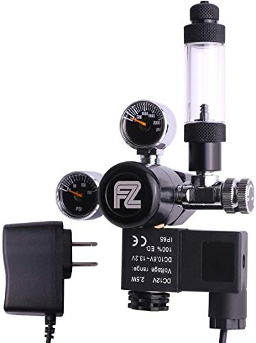 FZONE Aquarium CO2 Regulator Mini Dual Gauge Display DC Solenoid with Bubble Counter and Check Valve...