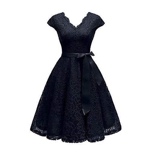 Vestidos de encaje hasta la rodilla con cuello en V, vestido de manga corta, para mujer, chic, precio más barato