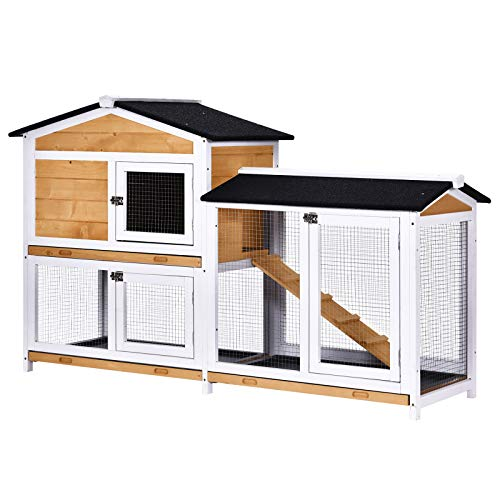 PawHut 2-Tier Wood Rabbit Hutch Backyard Bunny Cage Small Animal House w/Ramp and Outdoor Run