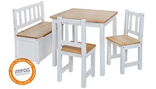 Original IMPAG Kinder-Sitzgruppe | Großes Kinderzimmer Set 1 Tisch, 2 Stühle, 1 Truhenbank mit...