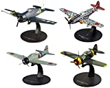 OPO 10 - Lote de 4 Aviones de Combate 1/72 Brewster Buffalo + Mitsubishi Zero + Kawasaki + Grumman Hellcat (AC: 8 + 13 + 19 + 27)