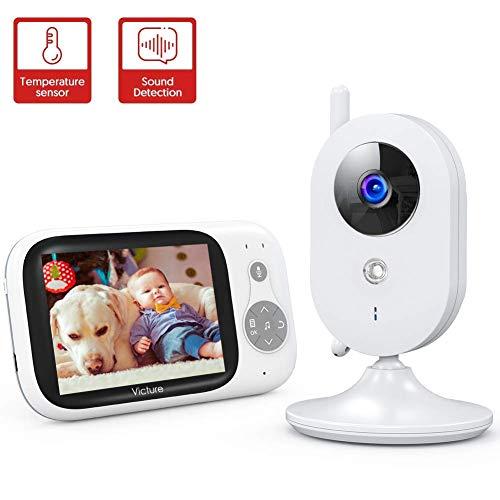 Victure Babyphone Caméra Moniteur bébé 3.2' LCD Couleur Vidéo Bébé Surveillance 2.4GHz Transmission, Vision Nocturne, Communication Bidirectionnel, Capteur de Température, VOX, Berceuses, Rechargeable