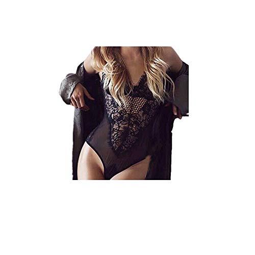 Lialbert Bodysuit Damen Elegant Sexy Body Schwarz mit Spitze, Sommer Babydoll Dessous Overall Tops Nachtwäsche Reizwäsche Negligees Lingerie