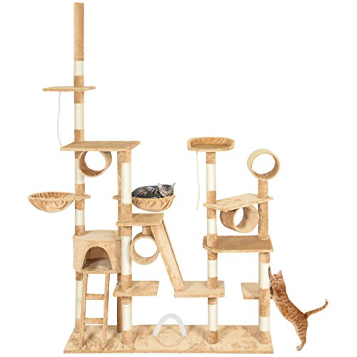 Best Choice Products 96in Multi-Level Cat Tree Scratcher Condo Palace Play Furniture w/Cubbies and Ropes