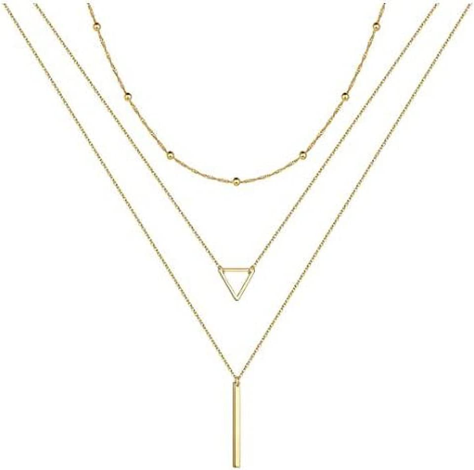 Tcplyn Layered Necklaces for Women Long Necklaces Gold Choker Necklaces Map Bar Crescent Moon Necklace Layered Y Pendant Necklace Multilayer Attractive Processed