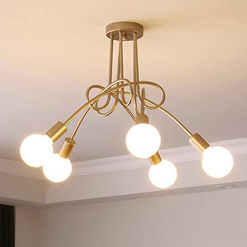 iDEGU Plafonnier Industrielle Rétro en Métal Lustre Abat-jour E27 Luminaire Moderne Lampe Suspension pour Salon Chambre Salle à Manger (Peinture Dorée, 5 Lampes) Sans Ampoules