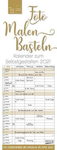 Foto-Malen-Basteln Familientimer gold 2021: Familienplaner mit 4 Spalten als Foto-kalender zum Selbstgestalten. Familienkalender mit Ferienterminen und festem Bastelpapier.