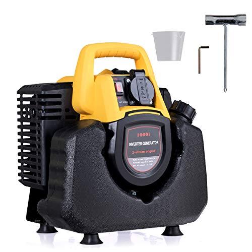 RELAX4LIFE Inverter Generator mit Leistungsschalter, 230 V, 50 Hz, 2 Takt, Tragbarer Benzin Generator, ideal für Wohnmobile, Van-Touren, Camping und Notfälle, Stromerzeuger mit 1000 W Maximalleistung