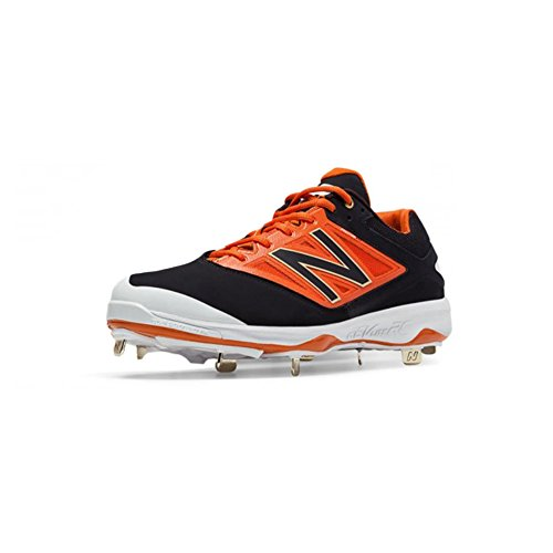 New Balance Men's L4040v3 Low Metal Baseball Cleats Black/Orange 16