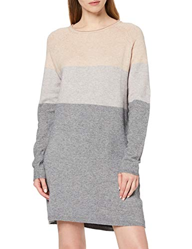 ONLY Damen ONLLILLO L/S Dress KNT NOOS Kleid, Mehrfarbig (Mahogany Rose Detail: W Melange/Light Grey Melange/Medium Grey Melange), Large