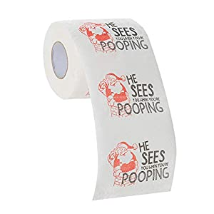 Your Dream Party Shop He Sees You When You're Pooping - Christmas Toilet Paper Gift, Holiday Toilet Paper, Funny Xmas Gag Gifts, Gag Gifts for White Elephant, Funny Toilet Paper
