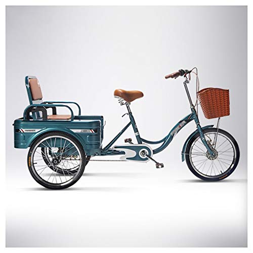 HHGO Dreirad Für Erwachsene 3 Radfahrräder Für Erwachsene Senioren, Dreirad 20 Zoll Three Rad Bike Cruiser Front- Und Heck-Doppelbremsen, Trike-Shopping Für Frauen, Männer