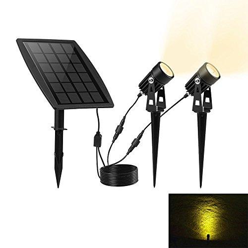 Keynice Luce Solare Impermeabile IP65 Faretto Solare Riflettore Alimentato con 2 Luci Bianche Caldi per Giardino / Cortile /Prato – Nero