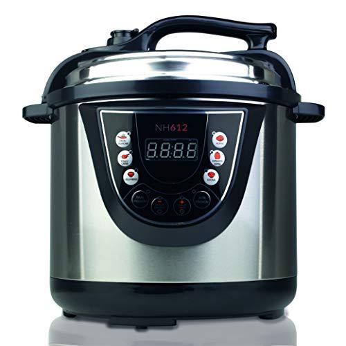NEWCHEF Olla Programable Eléctrica 3D NH612, Capacidad 6L, 1000W, 10 Modos de Cocinar, Detector de Alimentos. Incluye: Cubeta 100% Antiadherente, Recetario, Rejilla, Vaso Medidor y Espátula