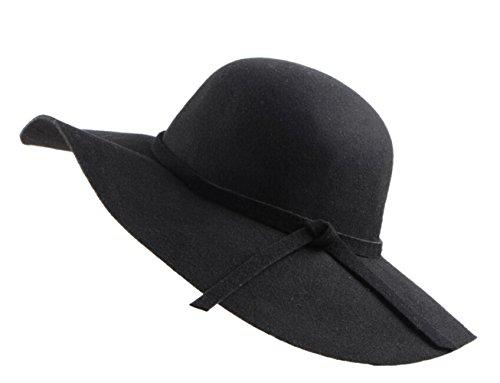 Urban GoCo Donne Ragazza Cappello di Lana Tesa Larga in Feltro Bombetta Fedora Cappello Floscio Cloche (Nero)